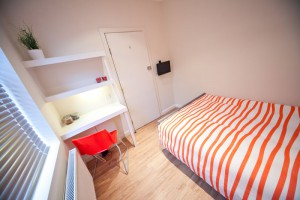Bed and Desk in Student Housing UCLAN