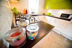Stylish lime & white kitchen in our student accommodation