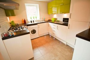 Modern lime & white kitchen in our student accommodation