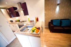 Modern student kitchen with purple and white themed decor