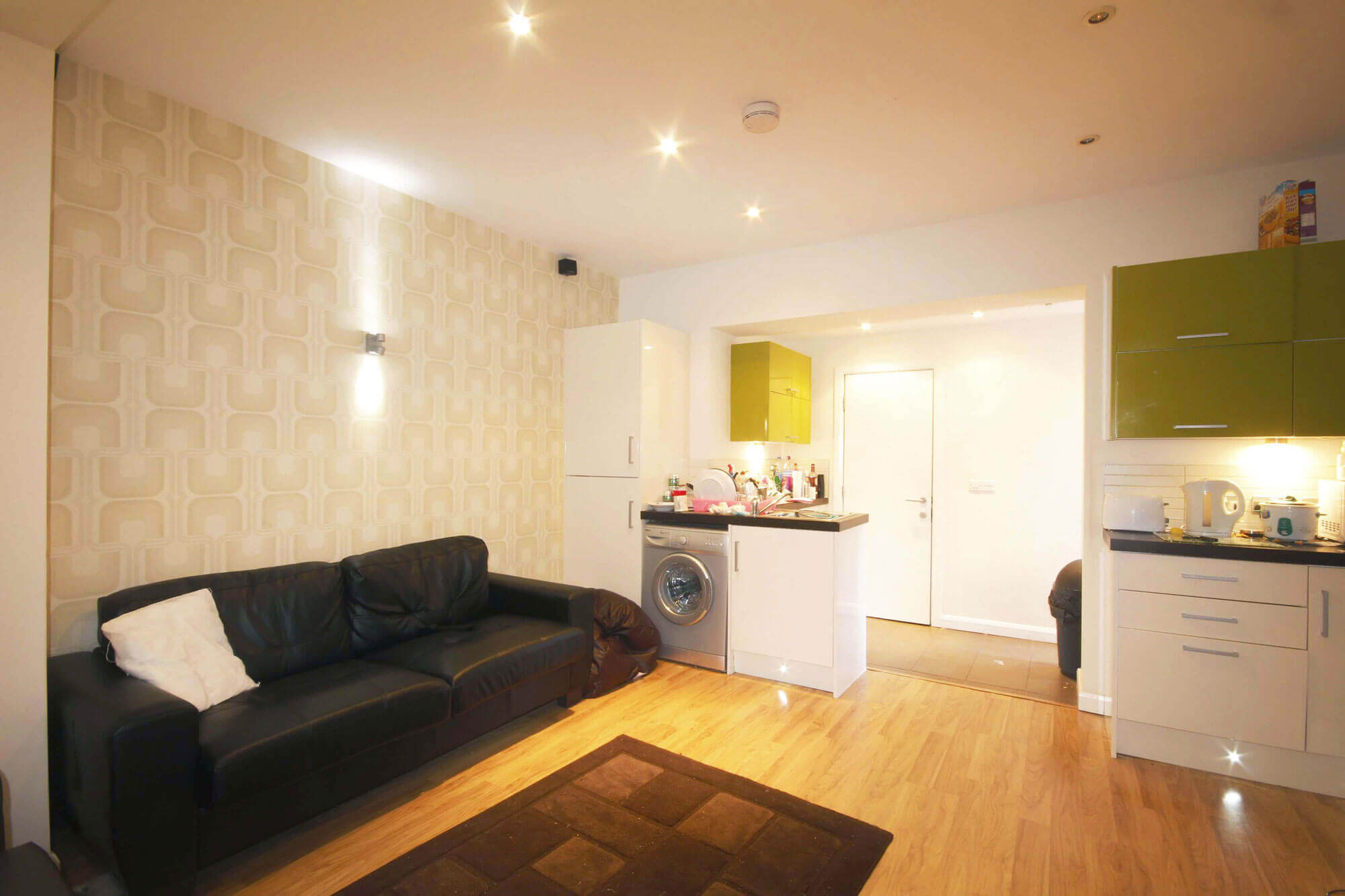 Student Accommodation in Preston showing living area and open plan Kitchen