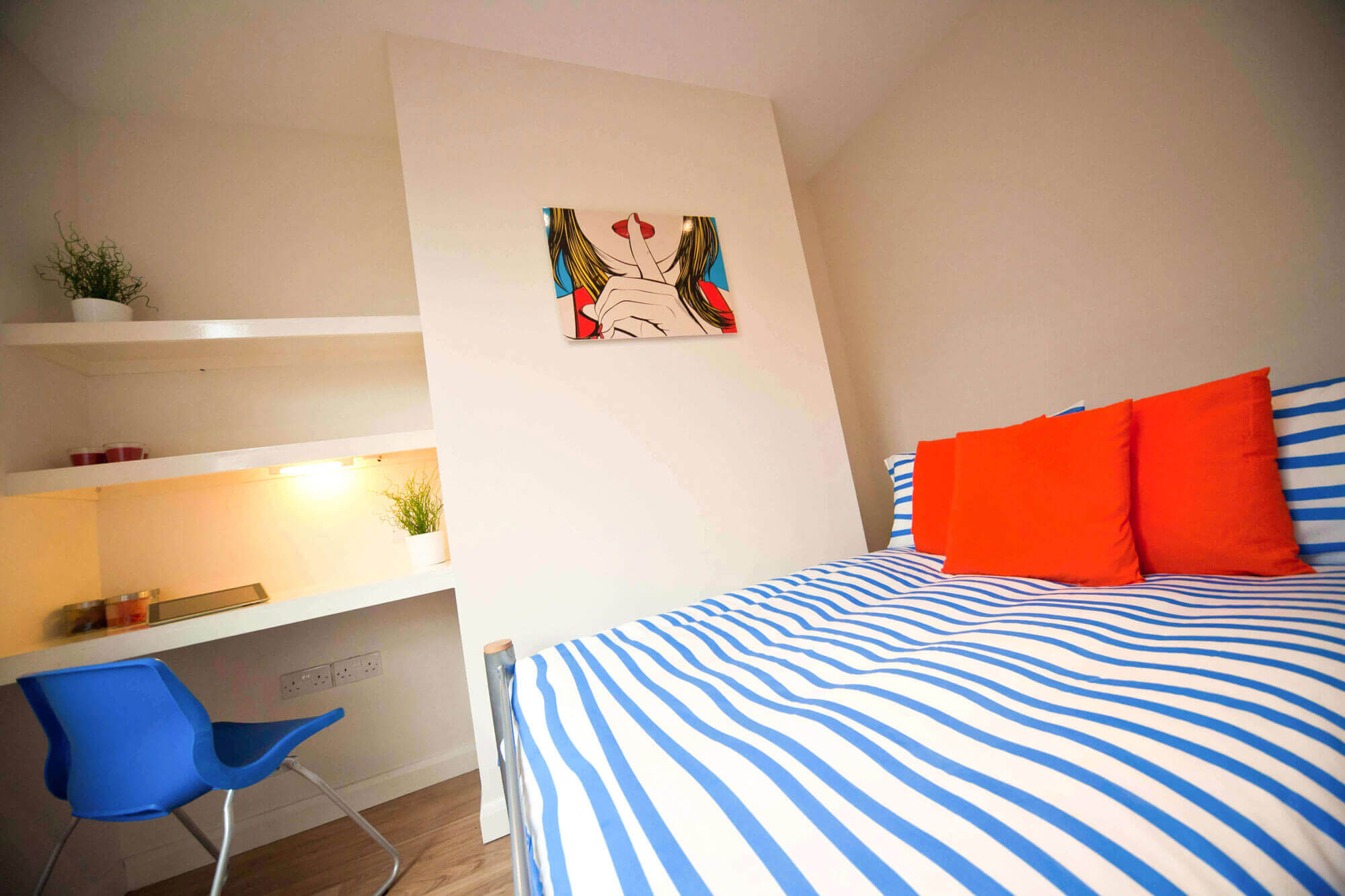 Student bedroom for rent showing bed and desk area